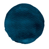 Blue watercolor circle. Watercolour stain on white background. stock illustration