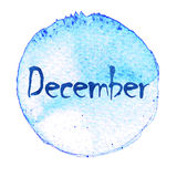 Blue watercolor circle with word December isolated on a white background. Watercolor. Sticker, label, round shape with the name of the month of December Royalty Free Stock Image
