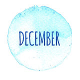 Blue watercolor circle with word December isolated on a white background. Watercolor. Sticker, label, round shape with the name of the month of December royalty free illustration