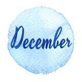 Blue watercolor circle with word December isolated on a white background. Sticker, label, round shape with the name of the month of December. Word on blue stock illustration
