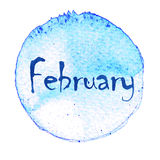 Blue watercolor circle with word February isolated on a white background. Watercolor. Sticker, label, round shape with the name of the month of February vector illustration
