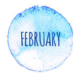 Blue watercolor circle with word February isolated on a white background. Watercolor. Sticker, label, round shape with the name of the month of February royalty free illustration
