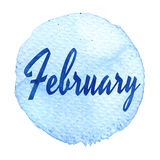 Blue watercolor circle with word February isolated on a white background. Sticker, label, round shape with the name of the month o. F February. Word on blue Royalty Free Stock Photography