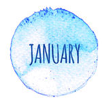 Blue watercolor circle with word January isolated on a white background. . Royalty Free Stock Photos
