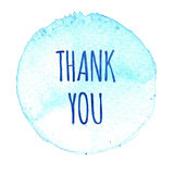 Blue watercolor circle with words thank you isolated on a white background. Watercolor. Sticker, label, round shape with text thank you. Thanks, thanking stock illustration