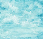 Blue watercolor cloud and sky. Stock Photos