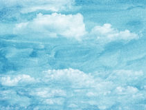 Blue watercolor cloud and sky. Stock Images