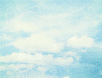 Blue watercolor cloud and sky. Spring, summer Stock Images