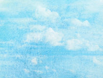 Blue watercolor cloud and sky. Stock Photo