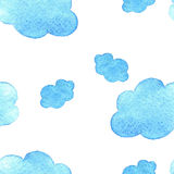Blue watercolor clouds background. pattern. on white baground. stock illustration