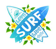 Blue watercolor colors vector crossing surfing boards with hand drawn sign Love, Live, SURF on Bali flowers Stock Images