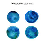 Blue watercolor design elements. Set isolated watercolor paint circles. Stock Photography