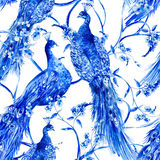 Blue watercolor flower vintage seamless pattern with peacocks Stock Photography