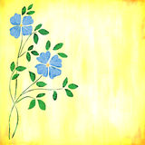 Blue watercolor flowers. On distressed fresh yellow background Stock Photo