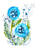 Blue watercolor flowers Stock Image