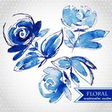 Blue watercolor flowers edging Royalty Free Stock Images