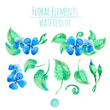 Blue watercolor flowers Royalty Free Stock Images