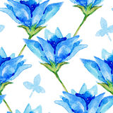Blue watercolor flowers seamless pattern. Stock Photography