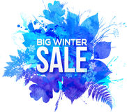 Blue watercolor foliage Big Winter Sale banner. Blue watercolor foliage Big Winter Sale vector banner Royalty Free Stock Photo