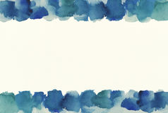 Blue watercolor frame and background. Abstract blue watercolor on white background Royalty Free Stock Photos