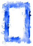 Blue watercolor frame. White inside. Royalty Free Stock Images