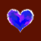 Blue watercolor glowing heart Royalty Free Stock Photography