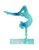 Blue Watercolor Gymnast Gymanstics on Balance Beam illustration Poster Card. A blue Watercolor Gymnast Gymnastics on Balance Beam illustration Stock Images