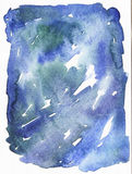 Blue watercolor hand drawn abstract shape based on ink drips and shades. Stock Photos