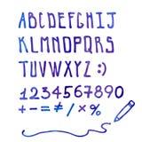 Blue watercolor handwritten vector doodle alphabet Royalty Free Stock Image