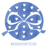 Blue watercolor  hearts and ribbon bow Royalty Free Stock Photos