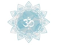 Blue Watercolor mandala Om Aum Symbol. Artwork is my own Royalty Free Stock Images