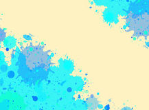 Blue watercolor paint splashes frame Stock Photo