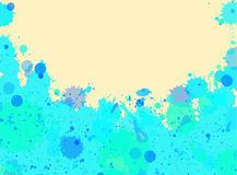 Blue watercolor paint splashes frame Royalty Free Stock Photo
