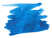 Blue watercolor paint stroke. On white background Stock Photos
