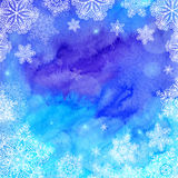 Blue watercolor painted Christmas winter stock illustration