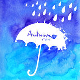 Blue watercolor painted umbrella and rain Stock Photography