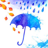 Blue watercolor painted umbrella under the rain Stock Photo
