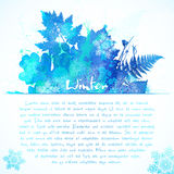 Blue watercolor painted winter leaves greeting Royalty Free Stock Photo