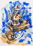 Blue watercolor painting still life with jug, pepper, apple and Stock Images