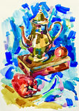 Blue watercolor painting still life with jug, pepper, apple and. Box, aquarelle sketch illustration Royalty Free Stock Photos