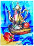 Blue watercolor painting still life with jug, pepper, apple and Stock Photos