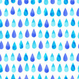Blue watercolor rain line seamless pattern Stock Images