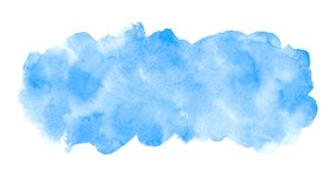 Blue watercolor rectangle elongated background with stains stock images
