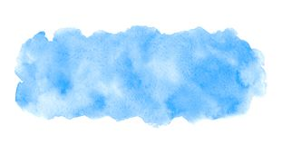 Blue watercolor rectangle elongated shape with stains royalty free stock photo