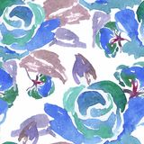 Blue Watercolor Rose Seamless Pattern Stock Photos