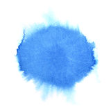 Blue watercolor round stain. Abstract background. Space for your own text. Raster illustration Royalty Free Stock Photos