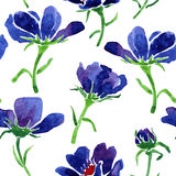 Blue watercolor seamless floral pattern Stock Images