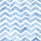 Blue watercolor seamless pattern with blue zigzag stripes, hand Royalty Free Stock Photo