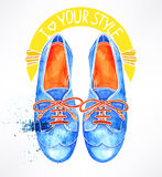 Blue watercolor shoes Royalty Free Stock Photography