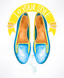Blue watercolor shoes Stock Photos